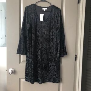 Neumann Marcus Bell Sleeve Velvet Dress